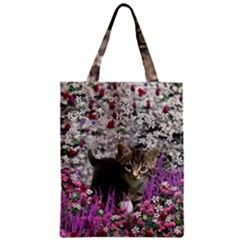 Emma In Flowers I, Little Gray Tabby Kitty Cat Classic Tote Bag by DianeClancy