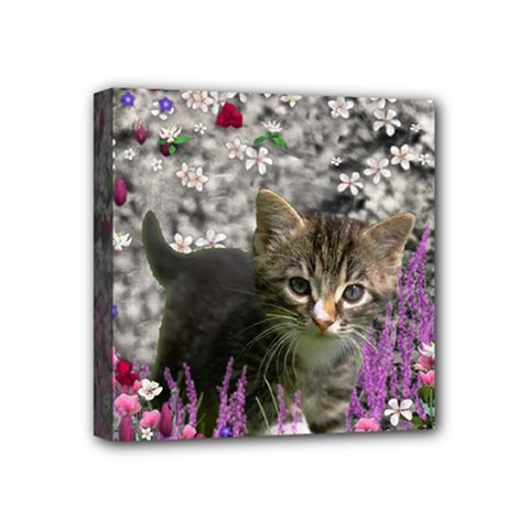 Emma In Flowers I, Little Gray Tabby Kitty Cat Mini Canvas 4  X 4  by DianeClancy
