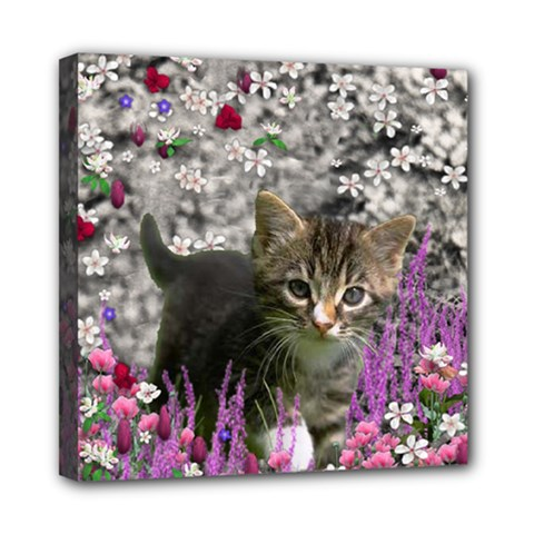 Emma In Flowers I, Little Gray Tabby Kitty Cat Mini Canvas 8  X 8  by DianeClancy