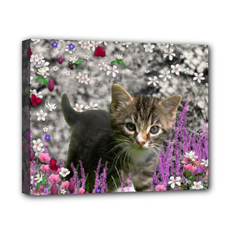 Emma In Flowers I, Little Gray Tabby Kitty Cat Canvas 10  X 8  by DianeClancy