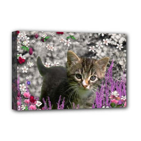 Emma In Flowers I, Little Gray Tabby Kitty Cat Deluxe Canvas 18  X 12   by DianeClancy