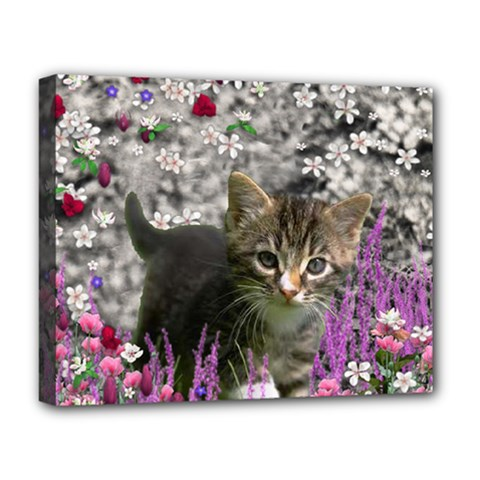 Emma In Flowers I, Little Gray Tabby Kitty Cat Deluxe Canvas 20  X 16   by DianeClancy