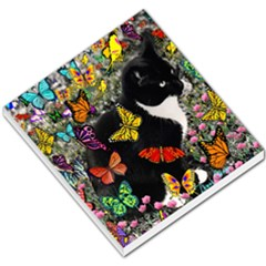 Freckles In Butterflies I, Black White Tux Cat Small Memo Pads by DianeClancy