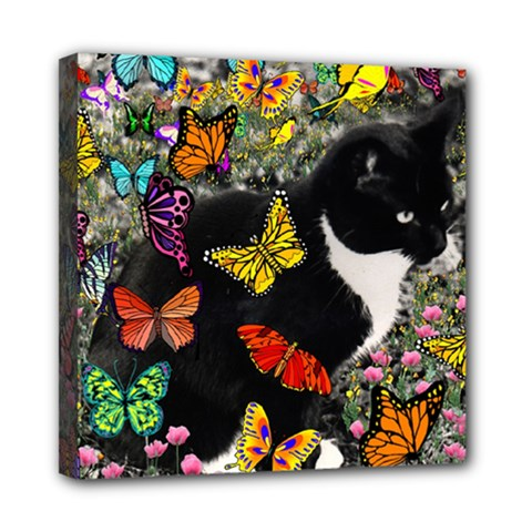 Freckles In Butterflies I, Black White Tux Cat Mini Canvas 8  X 8  by DianeClancy