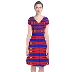 Bright Blue Red Yellow Mod Abstract Wrap Dress
