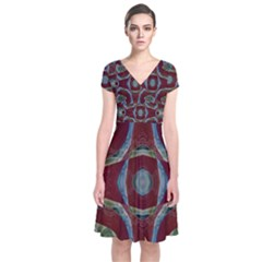 Fancy Maroon Blue Design Wrap Dress by BrightVibesDesign