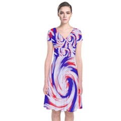 Groovy Red White Blue Swirl Wrap Dress by BrightVibesDesign