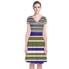 Olive Green Blue Stripes Pattern Wrap Dress by BrightVibesDesign