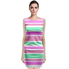 Pink Green Stripes Classic Sleeveless Midi Dress
