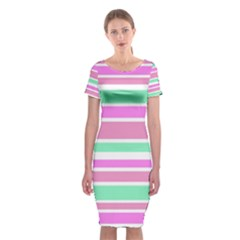 Pink Green Stripes Classic Short Sleeve Midi Dress