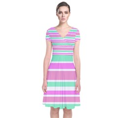 Pink Green Stripes Wrap Dress
