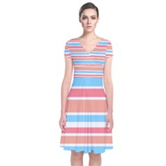 Orange Blue Stripes Wrap Dress by BrightVibesDesign