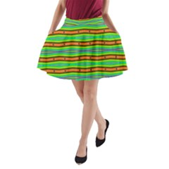 Bright Green Orange Lines Stripes A Line Pocket Skirt by BrightVibesDesign