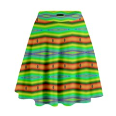 Bright Green Orange Lines Stripes High Waist Skirt by BrightVibesDesign