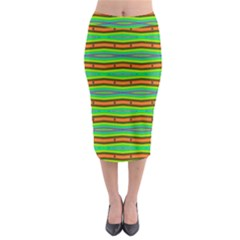 Bright Green Orange Lines Stripes Midi Pencil Skirt by BrightVibesDesign