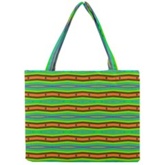 Bright Green Orange Lines Stripes Mini Tote Bag by BrightVibesDesign
