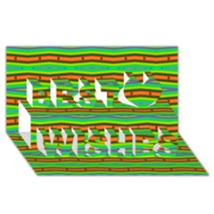 Bright Green Orange Lines Stripes Best Wish 3d Greeting Card (8x4)  by BrightVibesDesign