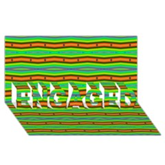 Bright Green Orange Lines Stripes Engaged 3d Greeting Card (8x4)
