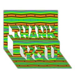 Bright Green Orange Lines Stripes Thank You 3d Greeting Card (7x5)  by BrightVibesDesign