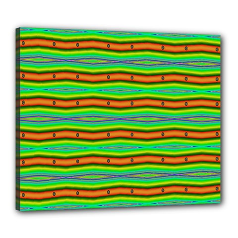 Bright Green Orange Lines Stripes Canvas 24  X 20  by BrightVibesDesign