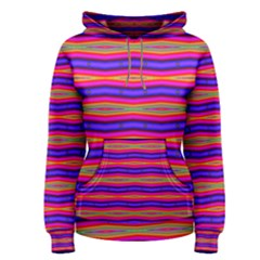 Bright Pink Purple Lines Stripes Women s Pullover Hoodie by BrightVibesDesign