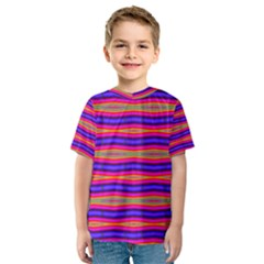 Bright Pink Purple Lines Stripes Kid s Sport Mesh Tee by BrightVibesDesign