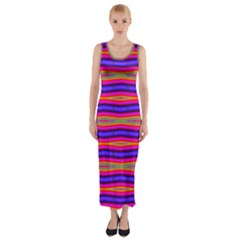 Bright Pink Purple Lines Stripes Fitted Maxi Dress by BrightVibesDesign