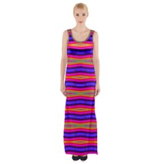Bright Pink Purple Lines Stripes Maxi Thigh Split Dress by BrightVibesDesign