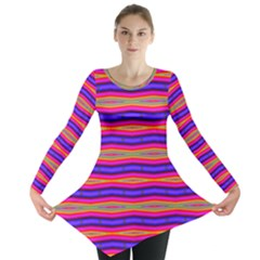 Bright Pink Purple Lines Stripes Long Sleeve Tunic  by BrightVibesDesign