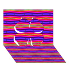 Bright Pink Purple Lines Stripes Clover 3d Greeting Card (7x5)  by BrightVibesDesign