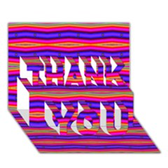Bright Pink Purple Lines Stripes Thank You 3d Greeting Card (7x5)  by BrightVibesDesign