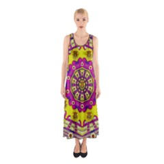 Celebrating Summer In Soul And Mind Mandala Style Sleeveless Maxi Dress by pepitasart