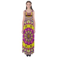 Celebrating Summer In Soul And Mind Mandala Style Empire Waist Maxi Dress by pepitasart