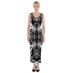 Mathematical Fitted Maxi Dress