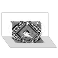 Geometric Pattern Vector Illustration Myxk9m   Twin Hearts 3d Greeting Card (8x4)  by dsgbrand