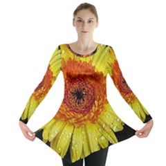 Yellow Flower Close Up Long Sleeve Tunic