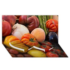 Heirloom Tomatoes Twin Heart Bottom 3d Greeting Card (8x4)  by MichaelMoriartyPhotography