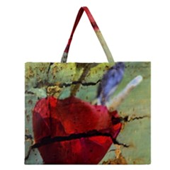 Rusty Globe Mallow Flower Zipper Large Tote Bag by MichaelMoriartyPhotography