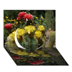 Cactus Flowers With Reflection Pool Circle 3d Greeting Card (7x5)  by MichaelMoriartyPhotography