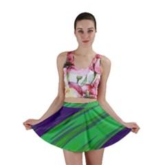 Swish Green Blue Mini Skirt by BrightVibesDesign