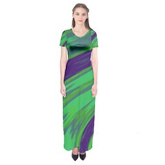 Swish Green Blue Short Sleeve Maxi Dress by BrightVibesDesign