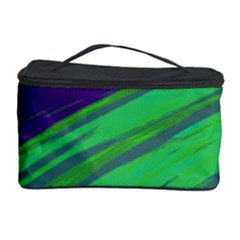 Swish Green Blue Cosmetic Storage Case by BrightVibesDesign