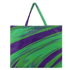 Swish Green Blue Zipper Large Tote Bag by BrightVibesDesign