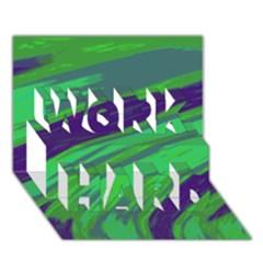 Swish Green Blue Work Hard 3d Greeting Card (7x5)  by BrightVibesDesign