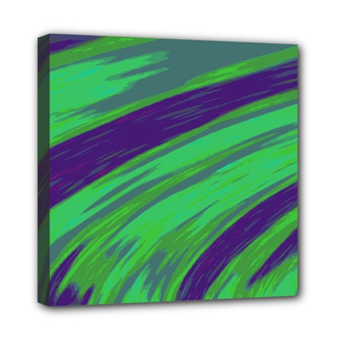 Swish Green Blue Mini Canvas 8  X 8  by BrightVibesDesign