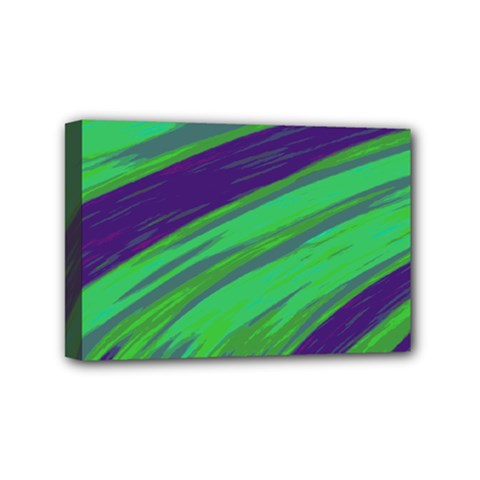 Swish Green Blue Mini Canvas 6  X 4  by BrightVibesDesign
