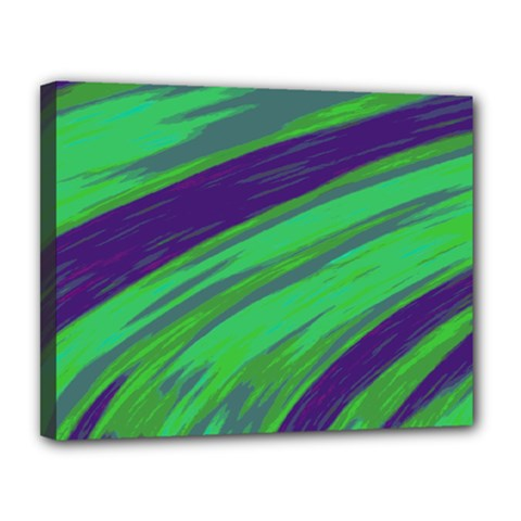 Swish Green Blue Canvas 14  X 11  by BrightVibesDesign