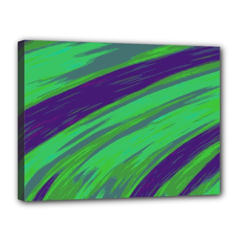 Swish Green Blue Canvas 16  X 12  by BrightVibesDesign