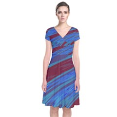 Swish Blue Red Abstract Short Sleeve Front Wrap Dress