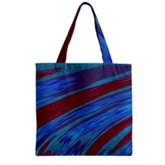Swish Blue Red Abstract Zipper Grocery Tote Bag by BrightVibesDesign